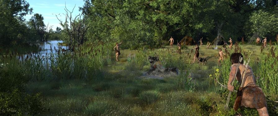 Impressie van mesolithisch landschap (reconstructie gemaakt door Ulco Glimmerveen. Copyright Agentschap Onroerend Erfgoed)