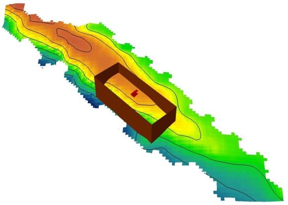 Verloop van de stroomrug (geel-oranje) in 3D met aanduiding van de werkput (bruin) en het onderzochte vlak (rood). De Schelde stroomt vooraan (blauw)
