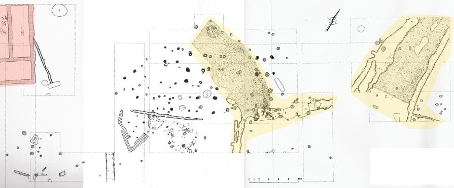 Archeologisch plan uit de periode '70-'90 (Rogge 1981) met aanduiding van de Romeinse weg (geel) en de noord-oostelijke hoek van de mansio (rood)