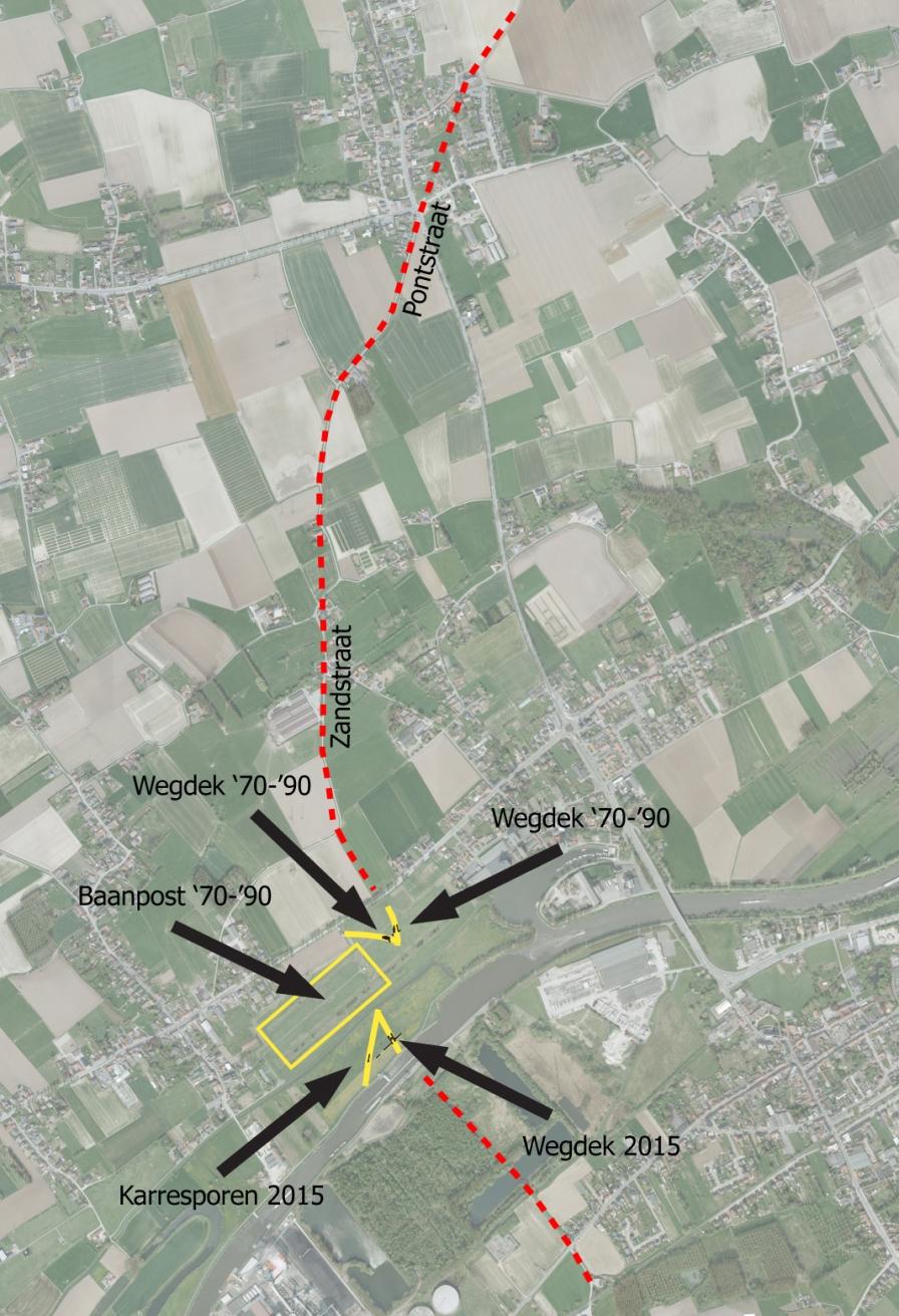 Vermoedelijk verloop van het Romeinse wegennet in en rond Kerkhove (archeologische resten in geel, toponomie en luchtfotografie in rood)